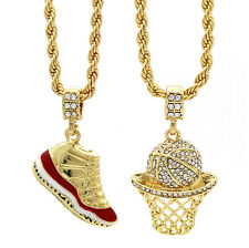 "Gold Plated Hip Hop Retro 11 ""Cherry"" & Cz Basketball Pendant 4mm 24"" Rope Chain"