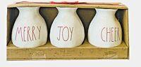 Rae Dunn Bud Vases Merry Joy Cheer Farmhouse  Set Of 3 LL Red Ivory  *NEW*