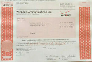Verizon Communications stock certificate