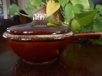 Vintage Brown Bowl Hull Pottery Drip Handled Lid Personal Casserole Dish