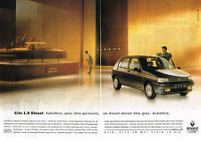 PUBLICITE ADVERTISING 074  1992  RENAULT CLIO  1.9 DIESEL ( 2 pages)
