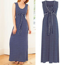 AU Sleeveless Clothes Breastfeeding Nursing Pregnant Women Striped Maxi Dress