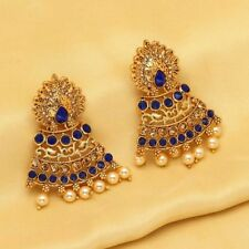 Indian Bollywood Wedding Blue Color Earrings for Women