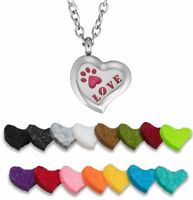 Essential Oil Diffuser Necklace Stainless Steel Aromatherapy Pet Love (Heart)
