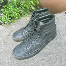 Vans black leather hi-tops, size 8, Sk8, - free shipping