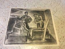 Old Original Charcoal Drawing Modernist Expressionism Impressionist Surreal