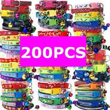 200PCS Lot Dog Collars Pet Cat Puppy Buckle Nylon Collar Neck W/ Bell Wholesale