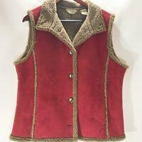 L.L.Bean Vest Jacket Button Up Fleece Lined Collared Faux Suede Size L Large