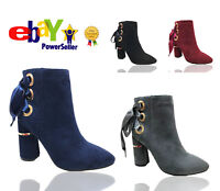 Womens Ladies Ankle Boots High Block Heel Bow Side Zip Casual Party Shoes Sizes