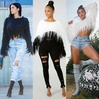 Women fashion Winter Sweater Tassel Knitted Shaggy Jumper Pullovers Sweater BGTR