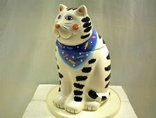 CAT COOKIE JAR WHITE BLACK WITH BLUE SCARF COCO DOWLEY FELINE KITTY SPOTTED