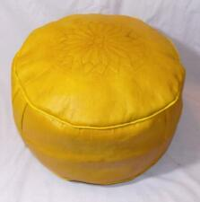 Fair Trade Yellow Leather Pouffe Footstool New Handmade From Marrakesh Morocco