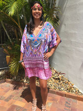 Embellished Kaftans Silk Blend, Pink Diamond High Low TOP Size 12-14-16-18 Dress