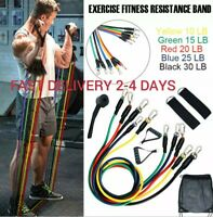 11-Piece Resistance Bands Set Workout Exercise Yoga Fitness Training Tubes USA!