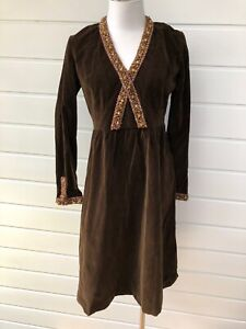 Vintage Handmade Brown Velvet Long Sleeve Dress Gold Beaded Trim - Size 10-12