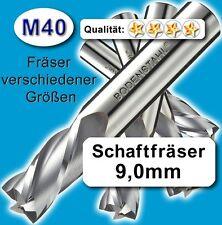 9mm Fräser L=75 Z=2 M40 Schaftfräser Metall Kunststoff Holz vergl. HSSE HSS-E