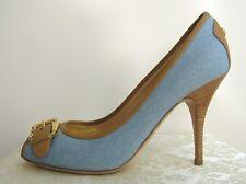 Giuseppe Zanotti - NEW Peep Toe Pump Heels Sky Blue Denim + Brown Leather 40(9B)
