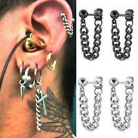 Punk Cool Men Stainless Steel Chain Dangle Ear Stud Piercing Earring Jewelry JP