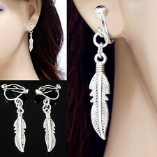 "#E121K NON-PIERCED CLIP ON Dangle Feather Angel Wings Drop Earrings 1.5"" NEW"