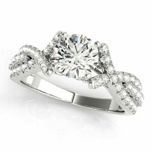 1.70 Ct Solitaire Diamond Engagement Rings 14k White Gold Rings Size 5 6 6.5 7