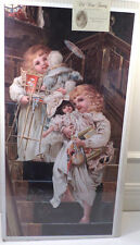 "Victorian Lithograph Print Picture ""Christmas Morning"" Little Girls W/Toys 12X23"