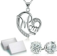 Mother's Day Pave Heart Necklace with Crystal Studs+ Box in 18K White Gold ITALY