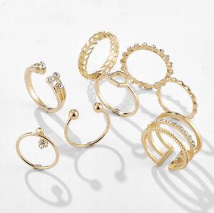 Topshop Set of 8 Gold Midi Rings