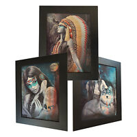3 Dimension 3D Lenticular Picture Native Indian Girls War Bonnet Wolf Full Moon