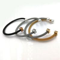 Cute Bear Pearl Titanium Steel Open Cuff Bracelet Stainless Steel Bangle Jewelry