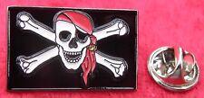 Jolly Roger Flag Lapel Tie Hat Cap Pin Badge Rebel Skull & Crossbones Biker