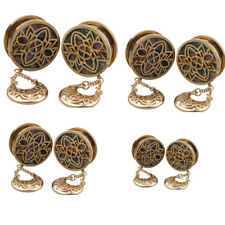 1 Pair Gold Dangle Screw Tunnels Ear Expander Stretch Plugs Piercing Gauge