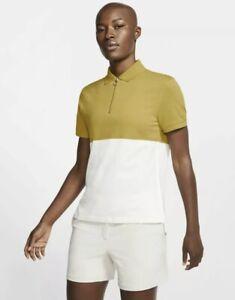 Nike Women's Golf Polo Dri-Fit Size Large Yellow Gold White NWT BV0186-393