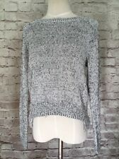 H&M Divided Sweater Silver Woven Metallic Crew Neck Knit  Size XS  NWT