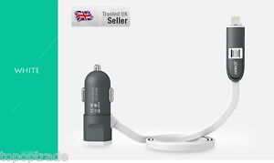 LED light 5v/2.4A Car Charger for Apple and Android with extra USB Slot  White