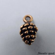 50951 Red Copper Alloy Tiny Pinecone Pendants Charms Findings Crafts 79pcs