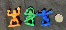3 Green Orange & Blue Plastic Toy Caveman Lady, Ogre & Monster Made in Hong Kong