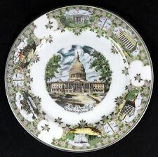 """14310 VINTAGE 7 ½"""" SILBERNE PORCELAIN WASHINGTON D.C. SOUVENIR PLATE JAPAN"""