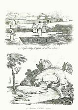 LEW CHEW - OKINAWA - JAPAN  VIEWS - Original 1834 Antique Prints set of 5