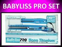 "BABYLISS PRO NANO TITANIUM 450° LED 1 1/4"" BLUE +FREE MINI TRAVEL FLAT IRON SET"