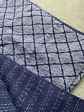 PAIR Blue and White Kantha Quilt Cotton Bedding Bedspread Summer Quilt Coverlet