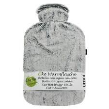 Öko Wärmflasche 2 Liter mit kuschligem Fleece Bezug grau Wärmeflasche Überbezug