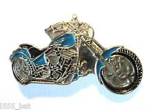 Blue Custom Chopper Bike Biker Motorcycle Chop Motorbike Metal Rocker Badge