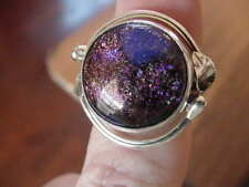 (#DR8-4) Size 8 DICHROIC GLASS Sterl SILVER RING PINK ORANGE Wow
