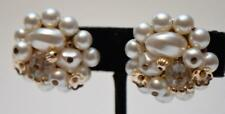Vintage 50s Japan Goldtone Faux Pearls Round Shape Clip-On Earrings