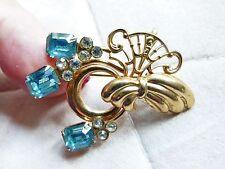 original Jugenstil Metall Brosche, goldfarben, mit blauen Steinen