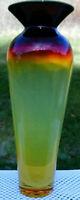 """BLENKO Glass Tequila Sunrise Signed:Richard Blenko Dated:2002 WOW Vase 10""""H"""