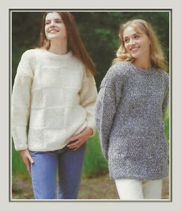 """Ladies Chunky Easy Knit Sweaters Knitting Pattern 28-44"""" 1331"""