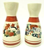 Vintage Set of 2 Japanese Sake Bottles w Gold Accents