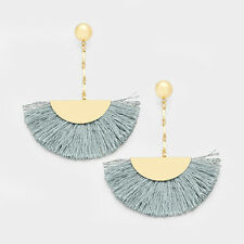 Gray and Gold Fan Tassel Drop Dangle Statement Fashion Jewelry Earrings