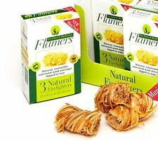 FLAMERS NATURAL FIRELIGHTER MINI PACK OF 3 FOR FIRES LOG BURNERS BBQ PIZZA OVENS